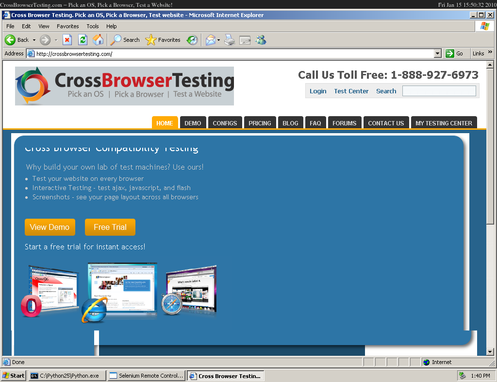 test page on ie6: